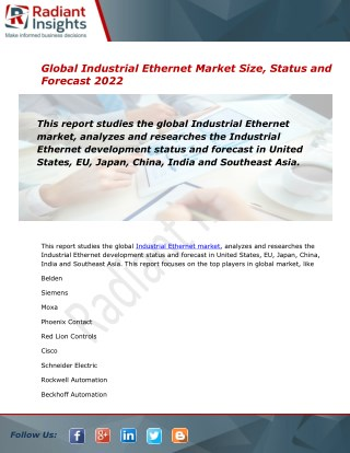 2022 Market Research explores the Industrial Ethernet Global Industry Trends:Radiant Insights, Inc