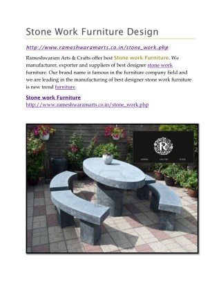 Stone Work Furniture Design