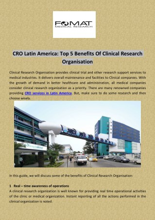 Top 5 Benefits Of Clinical Research Organisation
