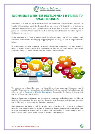 E-Commerce Website Development is Friend to Small Business Look at bit.ly/MerakE-Commerce