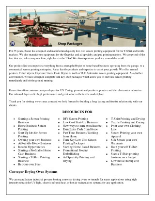 Silk Screen Printing Equipment