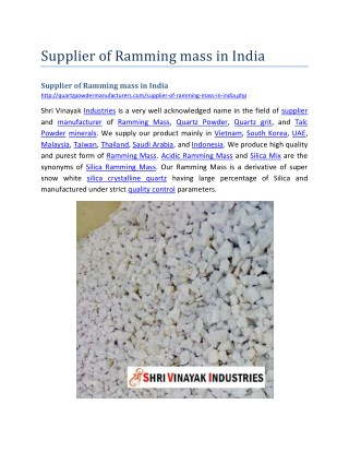 Supplier of Ramming mass in India