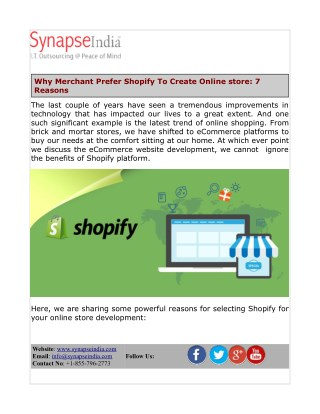 4b74882f5 Why Merchant Prefer Shopify To Create Online Store: 7 Reasons