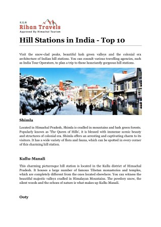 Hill Stations in India - Top 10
