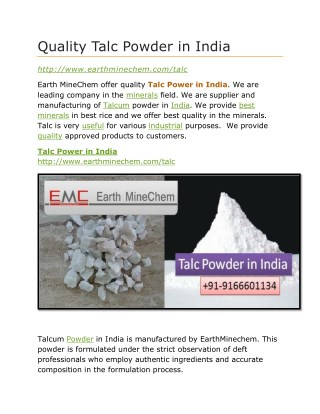 Quality Talc Powder in India