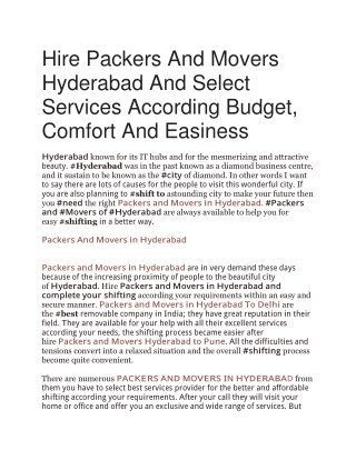 Hire Packers And Movers Hyderabad And Select Services According Budget, Comfort And Easiness