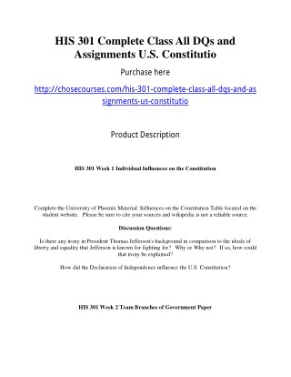 HIS 301 Complete Class All DQs and Assignments U.S. Constitutio