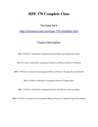 HPE 170 Complete Class