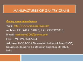 Manufacturer of Gantry Crane