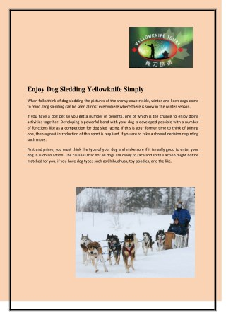 Enjoy Dog Sledding Yellowknife Simply