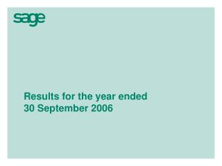 Results for the year ended  30 September 2006