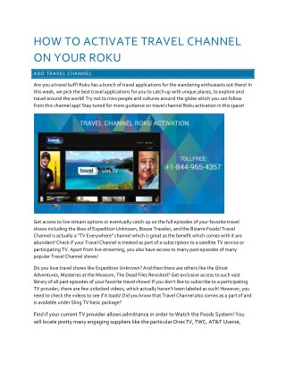 How to Activate Travel Channel On Your Roku?
