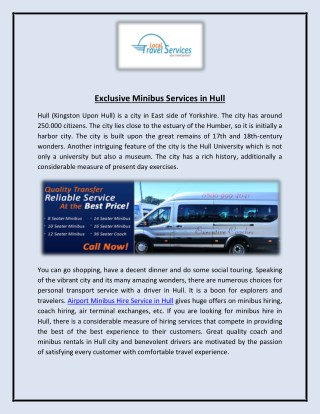 Exclusive Minibus Services in Hull