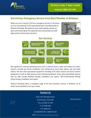Get 24 hour Emergency Service From Best Plumber In Brisbane