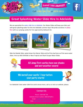 Great Splashing Water Slide Hire In Adelaide