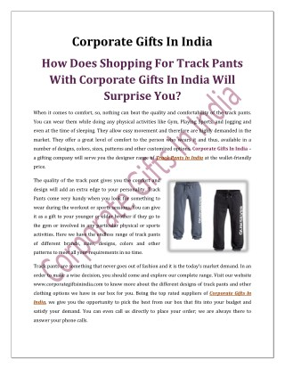 How Does Shopping For Track Pants With Corporate Gifts In India Will Surprise You