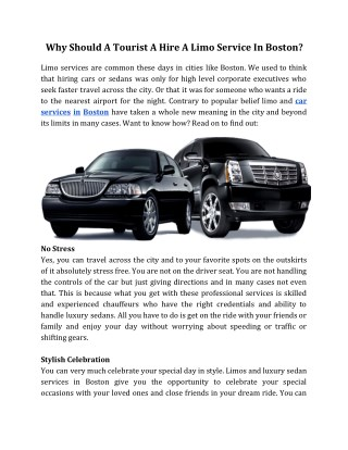 Why Should a Tourist a Hire a Limo Service in Boston