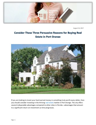Consider These Three Persuasive Reasons for Buying Real Estate in Port Orange