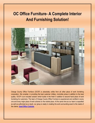 OC Office Furniture- A Complete Interior And Furnishing Solution!