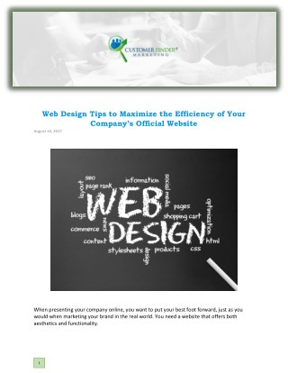 Web Design Tips to Maximize the Efficiency of Your Company's Official Website