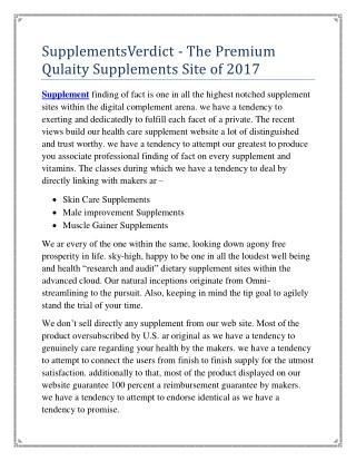 SupplementsVerdict - The Premium Qulaity Supplements Web Site of 2017