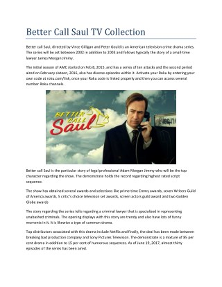 "Watch ""Better call saul"" series on Roku"