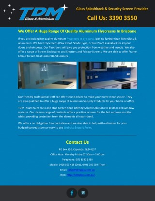 We Offer A Huge Range Of Quality Aluminum Flyscreens In Brisbane