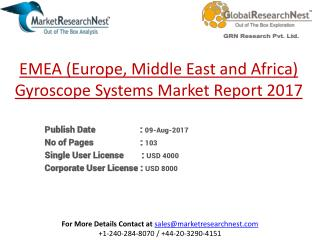 EMEA (Europe, Middle East and Africa) Gyroscope Systems Revenue and Growth Rate 2017-2022