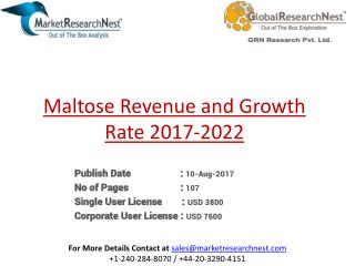 United States Maltose Market 2017 Industry, Analysis, Research, Share, Growth, Sales, Trends, Supply, Forecast To 2022