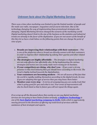 Unknown facts about the Digital Marketing Services