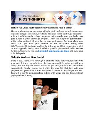 Make Your Child Feel Special with Customized Kids T-shirts