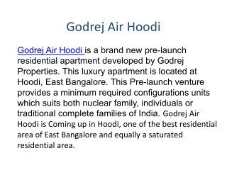 Godrej Air Hoodi Bangalore