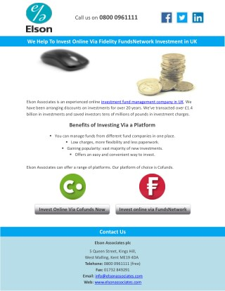 We Help To Invest Online Via Fidelity FundsNetwork Investment in UK