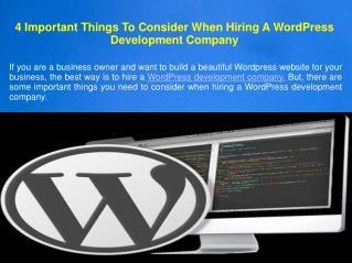 4 Important Things To Consider When Hiring A WordPress Development Company
