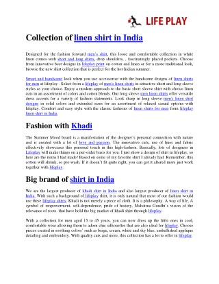 Collection of linen shirt in India