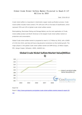 Global Crude Nickel Sulfate Market Projected to Reach $ 117 Million by 2018