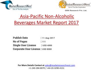 Asia-Pacific Non-Alcoholic Beverages Market Research Report 2017 to 2022