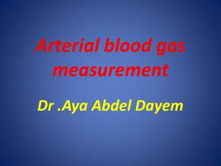 Arterial blood gas measurement
