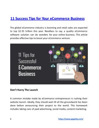 11 Success Tips for Your eCommerce Business