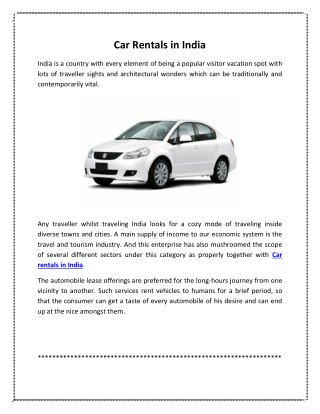 Car Rentals in India for Travel