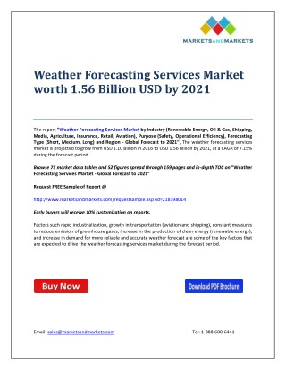 Weather Forecasting Services Market worth 1.56 Billion USD by 2021