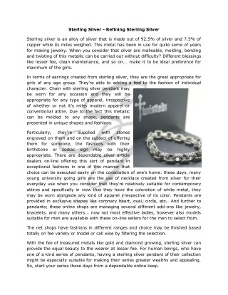 Sterling Silver - Refining Sterling Silver