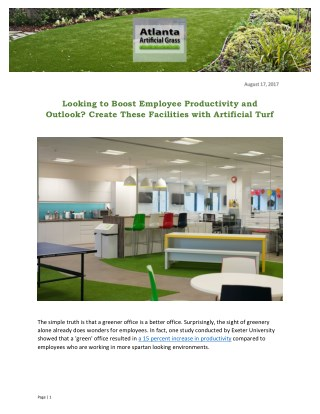Looking to Boost Employee Productivity and Outlook? Create These Facilities with Artificial Turf