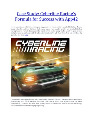 Cyberline Racing's Formula for Success with App42
