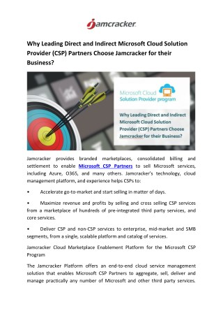 Why Leading Direct and Indirect Microsoft Cloud Solution Provider (CSP) Partners Choose Jamcracker for their Business?