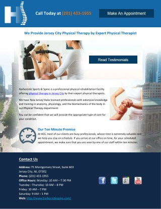 We Provide Jersey City Physical Therapy by Expert Physical Therapist