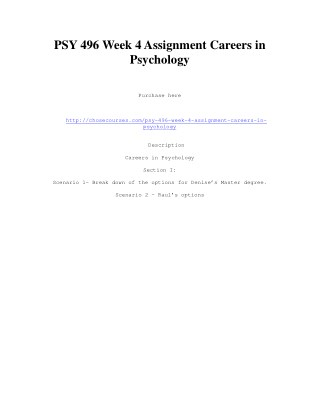 PSY 496 Week 4 Assignment Careers in Psychology