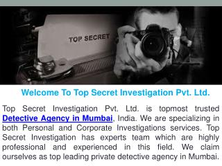 No. 1 Detective Agency in Mumbai || Top Secret Investigation