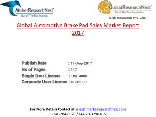 Global Automotive Brake Pad Sales Revenue and Growth Rate 2017-2022