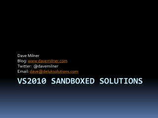 VS2010 Sandboxed Solutions